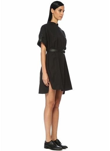 Yves Salomon Deri Şeritli Yarım Kol Mini Gömlek Elbise Siyah